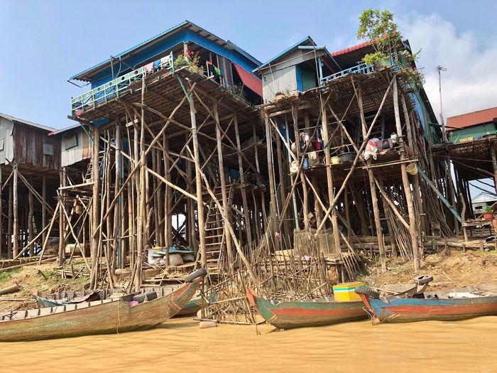 Riverside Living- Tonle Sap Riverside Life Muddy Waters River Home River Houses Fisherman Home Fisherman Village Fishermanvillage Fishermen's Life Riverside Photography Riverside View Riverside Built Structure Architecture Building Exterior Nature Day No People Building Low Angle View Water