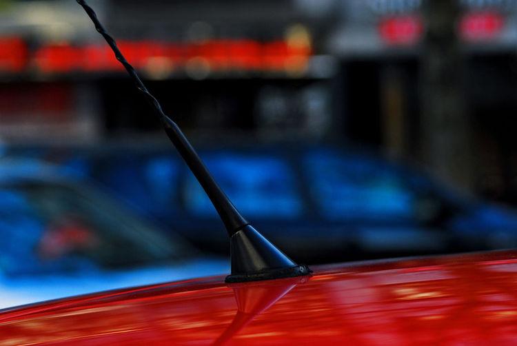 Close-up of antenna on car