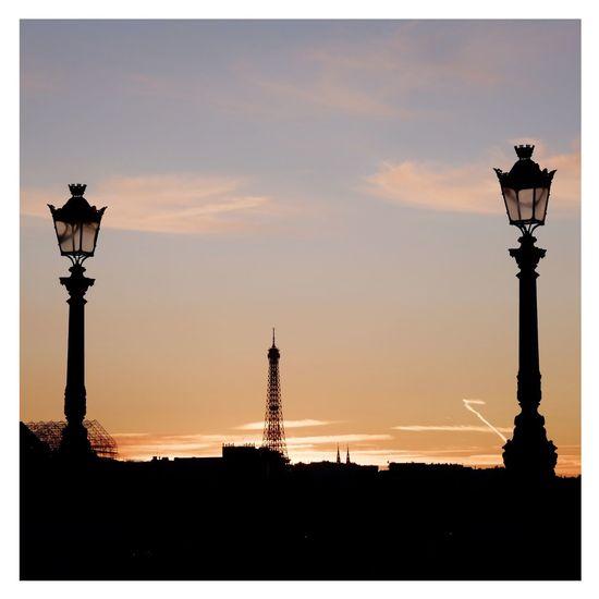 Lighting Equipment Street Light No People Sunset Sky Eiffel Tower Paris Paris, France  Parisian Eiffel_tower  Fujifilm_xseries Fujinon 60mm