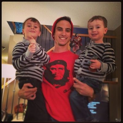 Merry Xmas from three Brats Uncle Nephew  che thepastandfutureinoneplace twins matchingoutfits ilookhomeless