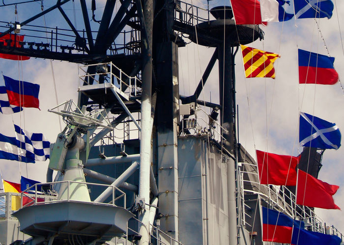 Semaphore flags on aircraft carrier