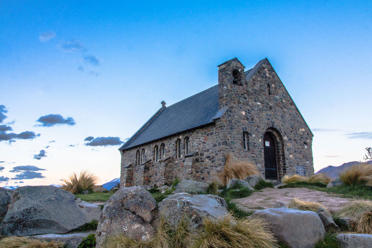 Architecture Blue Building Exterior Built Structure Church Day Lake Tekapo Church Of The Good Shepherd New Zealand Scenery No People Old Buildings Outdoors Place Of Worship Religion Sky Stones Tekapo