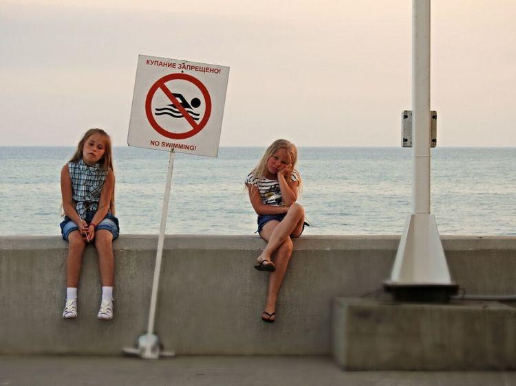No Swimming So Sad... :((( Daughter Adler Russia Sochi Summer Views Embankment Black Sea♥ Sunny Day Original Experiences