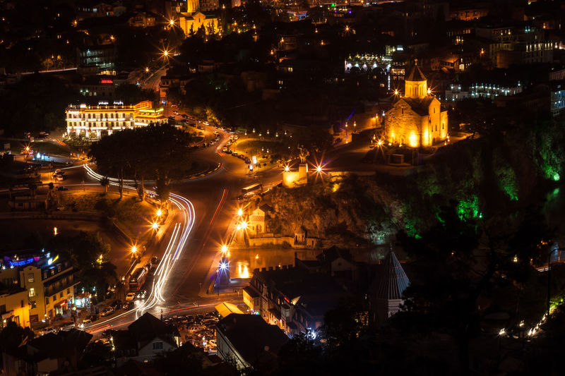 Architecture Arts Culture And Entertainment Building Exterior Built Structure Car Church City City Life Community Cultures Fountain Glowing Illuminated Lens Flare Light And Shadow Lighting Equipment Long Exposure Metekhi Motion Night Night Lights Street Street Light Tbilisi, Cities At Night