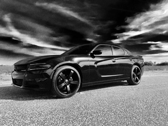 Dodge Charger Dodgecharger Sky Open Road Road Cloud Black And White