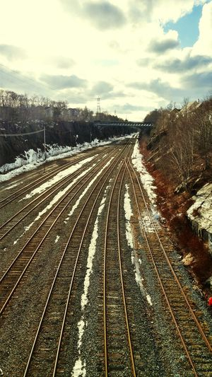 Sky Outdoors Cloud - Sky No People Day Winter Snow The Way Forward Train Tracks Shining In Sunlight. City