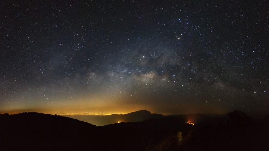 Milky Way Galaxy at Doi inthanon Chiang mai, Thailand Astronomy Beauty In Nature Galaxy Nature Night No People Outdoors Scenics Silhouette Sky Space Star - Space Starry Tranquil Scene Tranquility