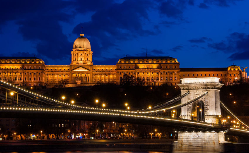 Royal palace or the buda castle and the chain bridge after sunset in danube river budapest hungary.