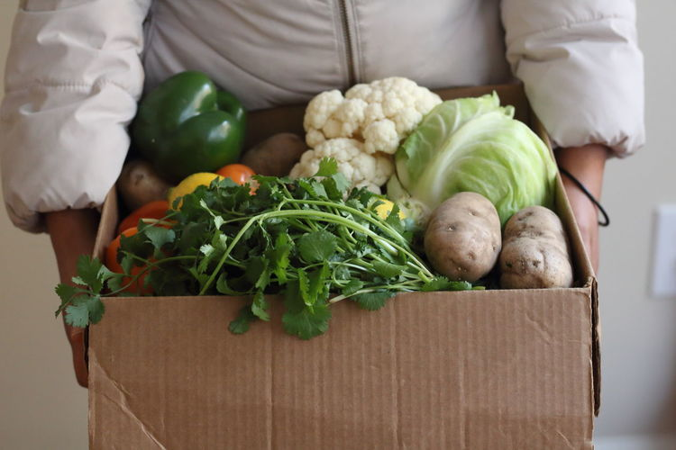 Midsection of man holding various vegetables in cardboard box
