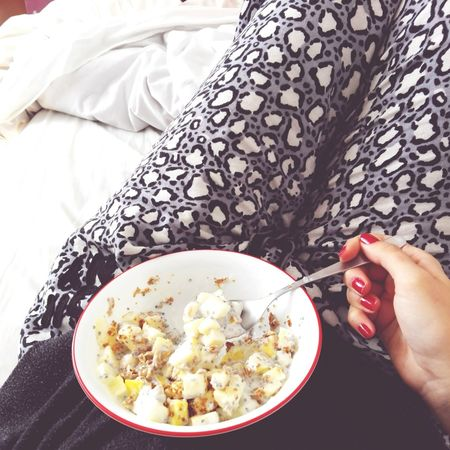 Breakfast in bed Breakfast Food Healthy Eating One Person High Angle View Food And Drink Human Body Part Indoors  Human Hand Freshness People Adults Only One Woman Only Ready-to-eat Only Women Adult Day Morning Sky All I Need Love Relaxation Bed Roses Lazy