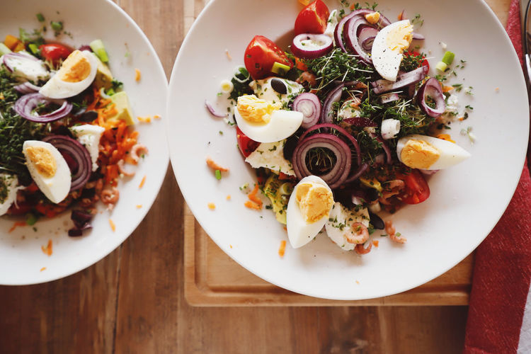 Healthy Healthy Eating Healthy Lifestyle Healthy Food Salad Food And Drink Food Ready-to-eat Plate Freshness Table Wellbeing Indoors  Vegetable Still Life Serving Size High Angle View Directly Above No People Meal Fruit Tomato Close-up Egg Boiled Egg Garnish Dinner Tray