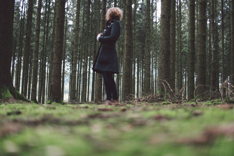 Full Length Of A Woman In Forest
