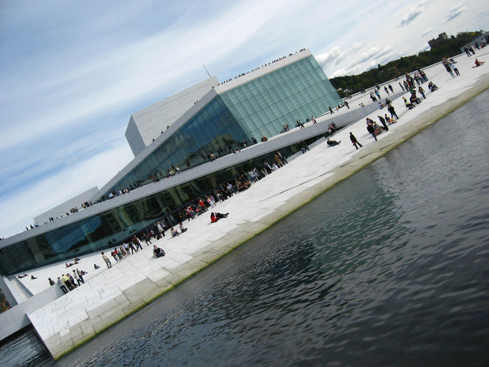 Oslo Opera House Building Exterior Connection Culture Engineering Europe Incidental People Music Norway Opera House Operahouse Operation Oslo Oslo Opera House Outdoors Pier Sea Snøhetta Song Travel Water