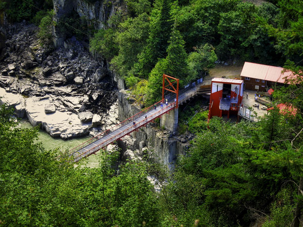 Hell's Gate British Columbia Built Structure Cable Car Canada Flume Gorge Green Color Growth Hell's Gate Idyllic Pedestrians Ravine River Suspension Bridge Vacation