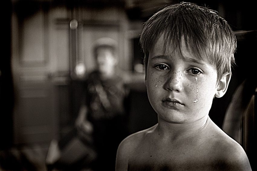 Crying Child Crying Black And White Black And White Photography Tears Heartbreak Sad Sad Boy Crying Brother Bullied Bully Sadness Sad Little Boy Crying Little Boy Big Tears Pitiful This picture was of my youngest when we were moving. His older brother took a box he was playing with and it made him very sad. I happened to be holding my camera when it all went down. This picture always makes me think of an abuse and neglect poster. Pitiful. Learn & Shoot : Balancing Elements