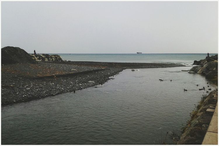 Foce del Leira. Torrent Creek Overcast Smartphone Photography Mobilephotography S3 Mini Water Sea Beach Sand Sky Horizon Over Water Calm Seascape Tranquil Scene Coast