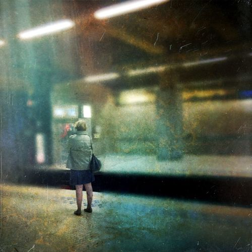 Small Scenes Of Life Waiting For A Metro Subway Woman Alone Time Standing