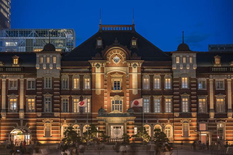 Night view of marunouchi side of tokyo railway station in the chiyoda city, tokyo, japan.