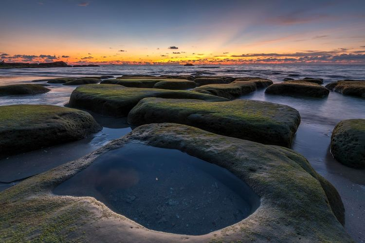 Beautifully Organized Mossy Rock Mossy Stone Sky And Clouds Sea And Sky Seascape Nature Sunset Tourism Beach