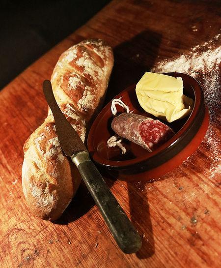 Baguetee Salami Butter Dark Food Freshness Meat No People Stil Life Table