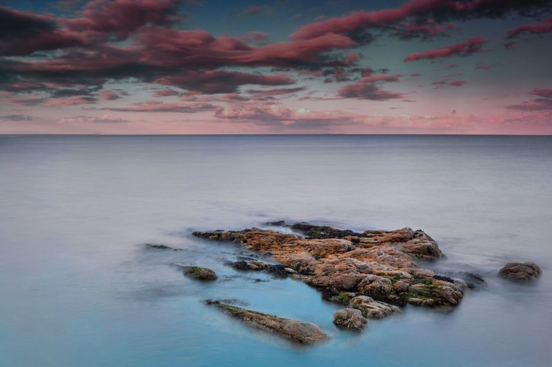 Tranquility: Sky Beauty In Nature Nature Cloud - Sky Water Sunset Sea Tranquility Scenics Tranquil Scene No People Outdoors Horizon Over Water Beach Day Horizon Colourful EyEmNewHere Colors Landscape Landscape_photography Landscape_Collection Landscape Photography Landscape_lovers Dreamy