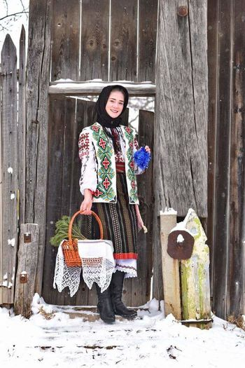 Happy People❤ Sweet😍 Beautiful Woman History Real People Christmas Steaua Republic Of Moldova Traditional Culture Traditional Costume Winter Winter Holiday Cold Temperature