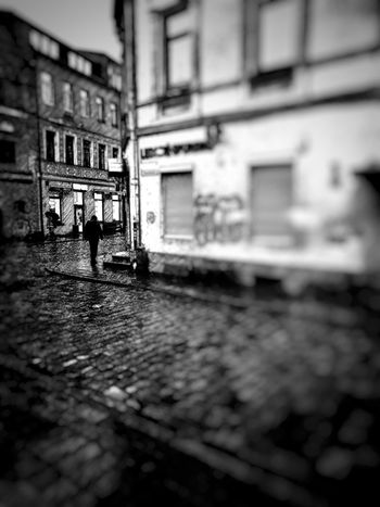 Alone in the rain... Rain Kaunas Lithuania December Man Alone Wb Street Streetphotography