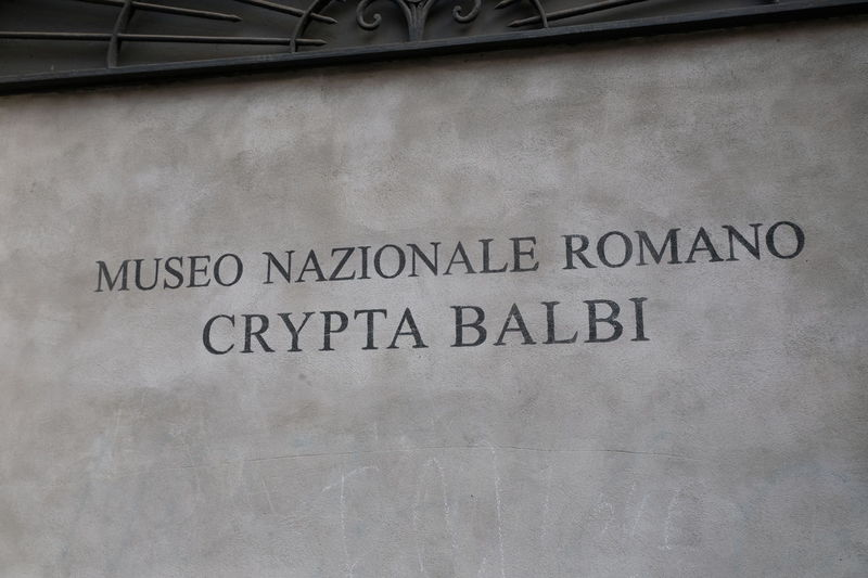 Rome, Italy - August 11, 2017: Sign of Crypta Balbi Museum (Museo Nazionale Romano Crypta Balbi), archeological and medieval museum, part of the National Museum of Rome, on site of an ancient theater Roman Museum Rome Architecture Art Building Exterior Close-up Crypta Balbi Italian Museum National Museum No People Outdoors