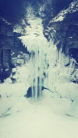 A frozen Taughannock waterfalls near Seneca Falls Travelling