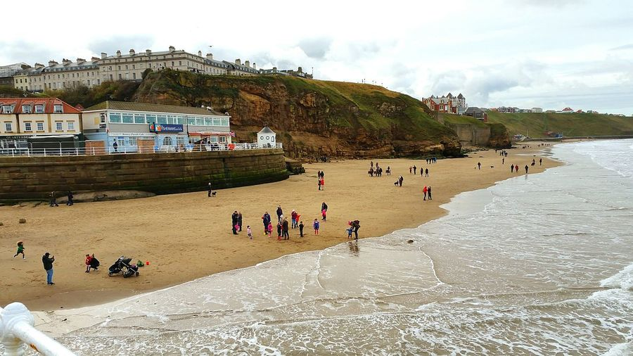Beach Sea Sand Vacations Landscape Outdoors Large Group Of People Whitby North Yorkshire Walking Around Taking Pictures Whitby View Walking Around Travel Destinations Seaside Whitby Town Sea And Sky Scenics