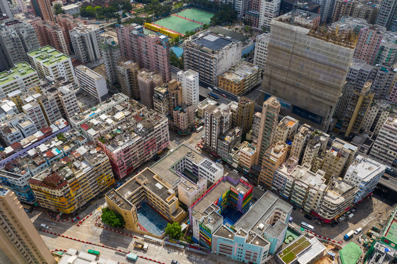 Hong Kong Building Architecture Street Top View Aerial Fly Drone  Over Above Down Top Down Bird Eye Hk Hong Kong Hong Kong City To Kwa Wan Kowloon Side District Shopping Center Plaza Tall Commercial Financial Busy China ASIA Apartment Skyscraper Crowd Old Town Urban Road Shot Living Low Landscape Cityscape Traffic