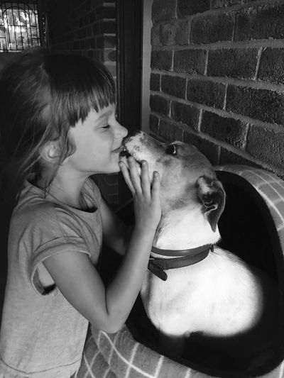 Youth Of Today Children Photographic Memory Dog Pet Black & White Childhood Children Photography Kiss Kiss Lick Animal True Love