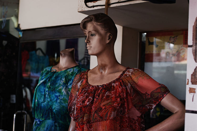 Clothing Dress Fashion Floral Pattern Looking Mannequin Retail Display Streetphotography