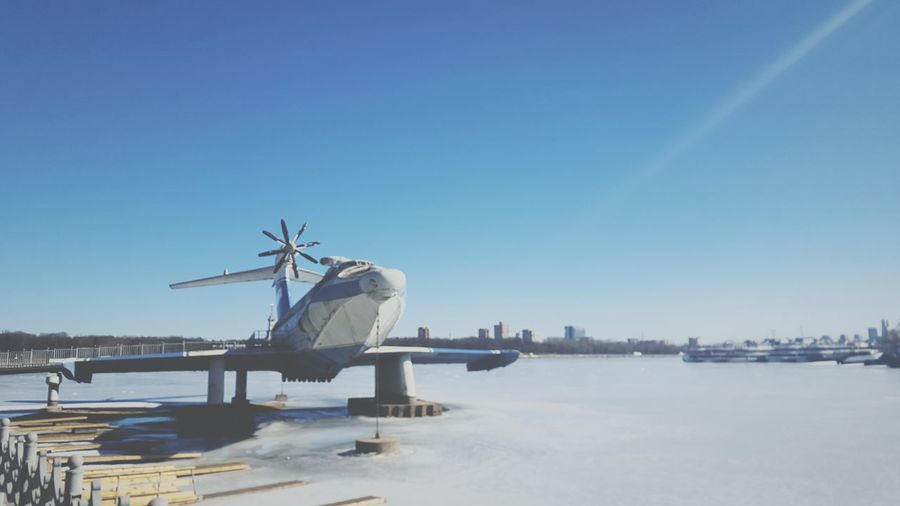 самолет Plane Blue Sky Sunny Navy Marine морской синее небо синий вода река солнечно Water River