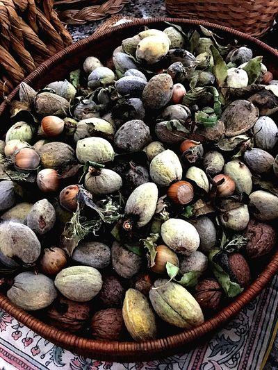 Food Still Life Almonds Chestnut Nuts Close-up