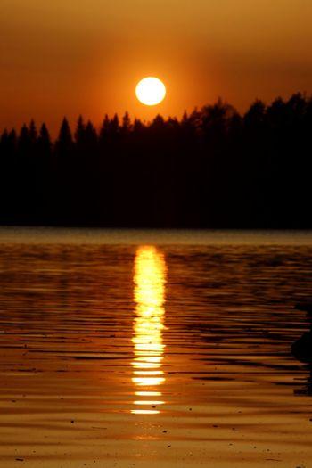 Sky Sunset Reflection Water Scenics - Nature Beauty In Nature Orange Color Sun Lake No People Smoke Colored Sky Keuruu Finland