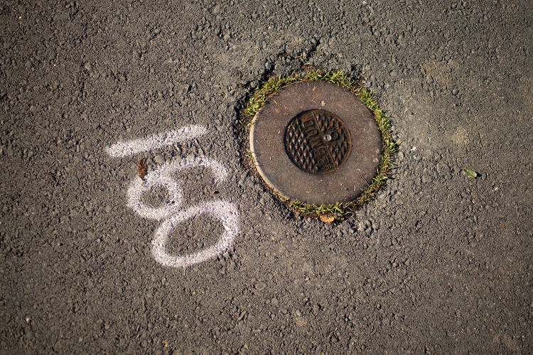 No People High Angle View Street Manhole  Circle Geometric Shape Shape Road Day Directly Above Sewage Sewer City Textured  Asphalt Close-up Creativity Art And Craft Outdoors Transportation Concrete