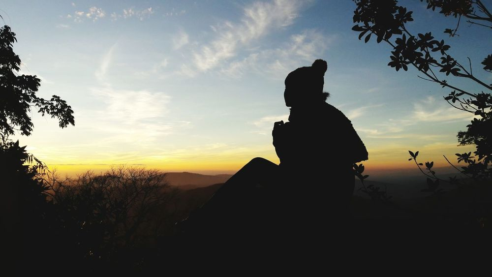 Young Adult One Person Sunset Sky Beauty In Nature On The Rock Everything Has Beaytiful Sides Shadow Of Me Memories DayDream's Gallory Nature Loei Thailand Phuluang