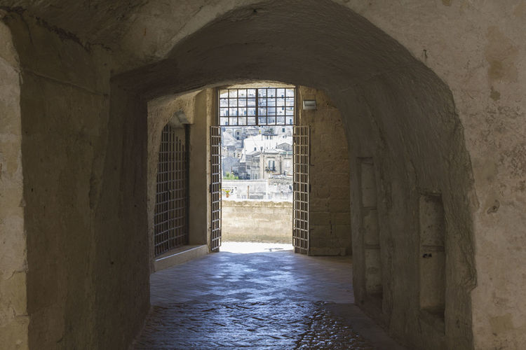 Matera Italy Basilicata South Italy Nobody UNESCO World Heritage Site Grotto Cave Architecture Built Structure Building Arch Indoors  Day The Past History No People Wall - Building Feature Old The Way Forward Arcade Direction Corridor Window Entrance Wall Ancient Civilization