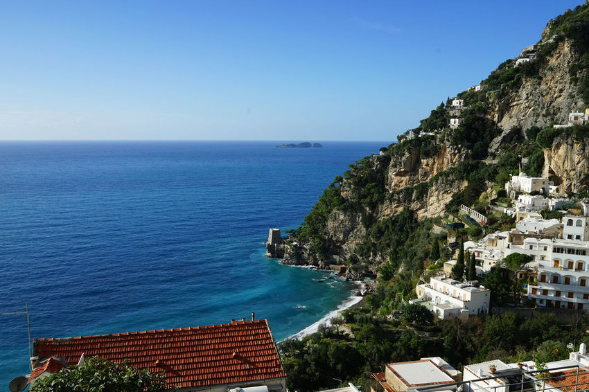 Travel Photography Architecture Beauty In Nature Blue Building Exterior Built Structure Clear Sky Cliff Day Horizon Over Water Italy❤️ Mountain Nature No People Outdoors Positano Scenics Sea Sky Water With Wife