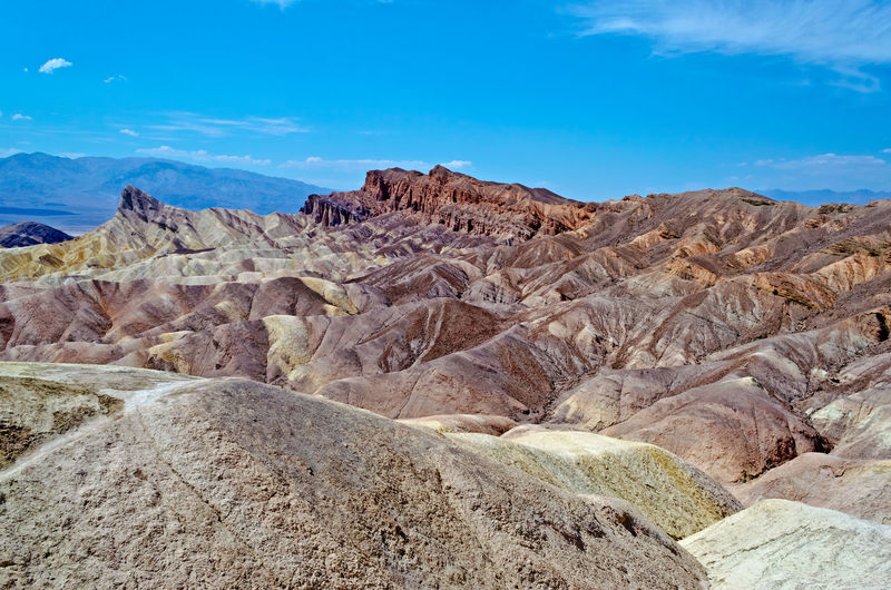 Zabriskie Point, scenic place in Death Valley, California, USA California Death Valley Desert USA Zabriskie Point Aerial View Furnace Creek Rocks