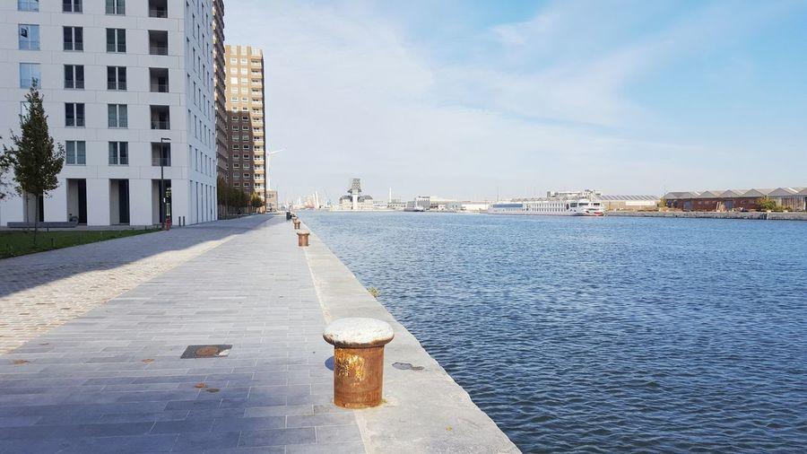 View into the harbour of kattendijkdok in antwerp, belgium Antwerp Harbor Water Architecture High Rise Building City Kattendijkdok Promenade Walkway Waterside Shore Coast