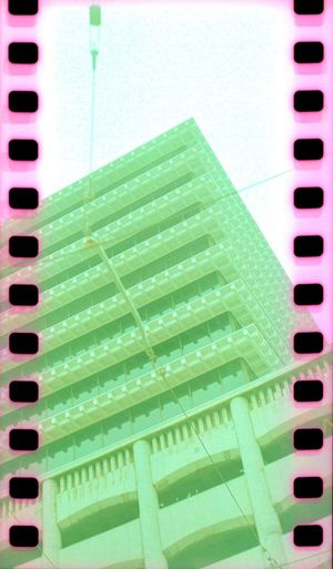 Film Sprockets Green Color Building Exterior Lubitel 166+ Parking Lot Koduckgirl