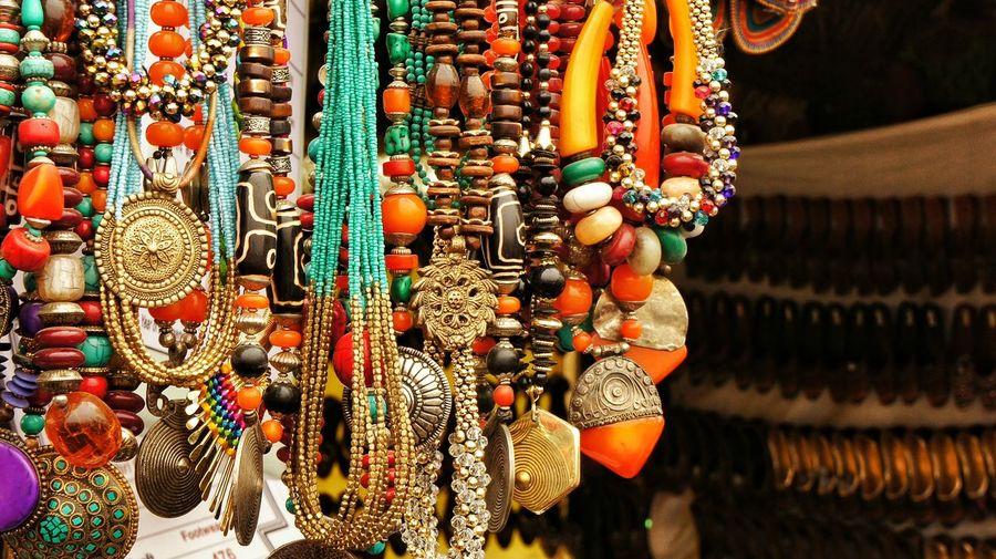Necklaces for sale at flea market