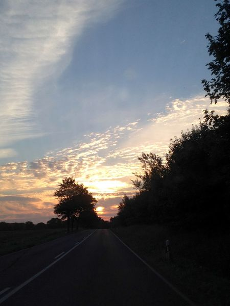 Beauty In Nature Cloud - Sky Cloudy Sky Day German Island Nature No People On The Move On The Road Onthe Road Outdoors Road Roadtrip Rügen Scenics Sky Sunrise Sunrise And Clouds Sunset The Way Forward Transportation Tree