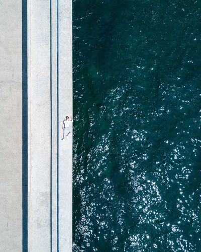 High angle view of swimming pool at beach