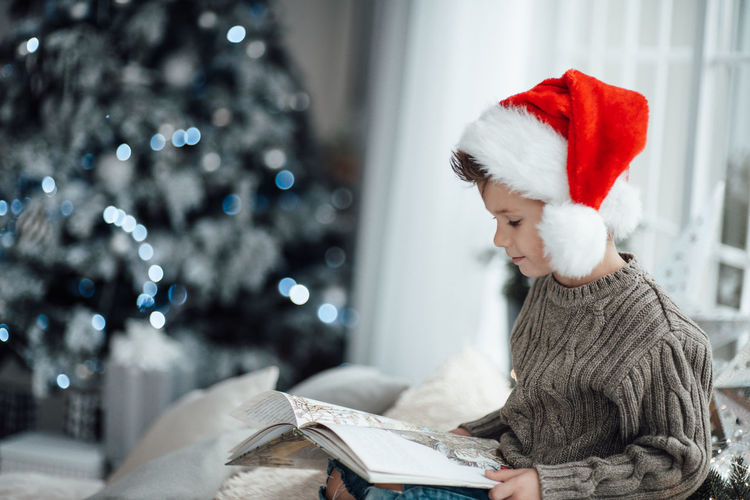 Midsection of person holding book in christmas tree