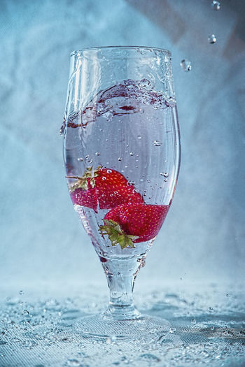 Close-up of strawberry on glass