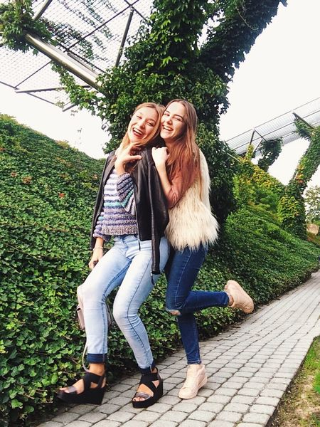 Smiling Two People Friendship hStandingFull LengthhCasual Clothingg Plants Outdoors Nature