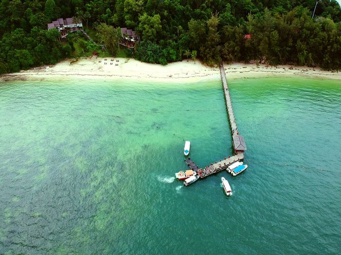 High Angle View Of Boat In Water